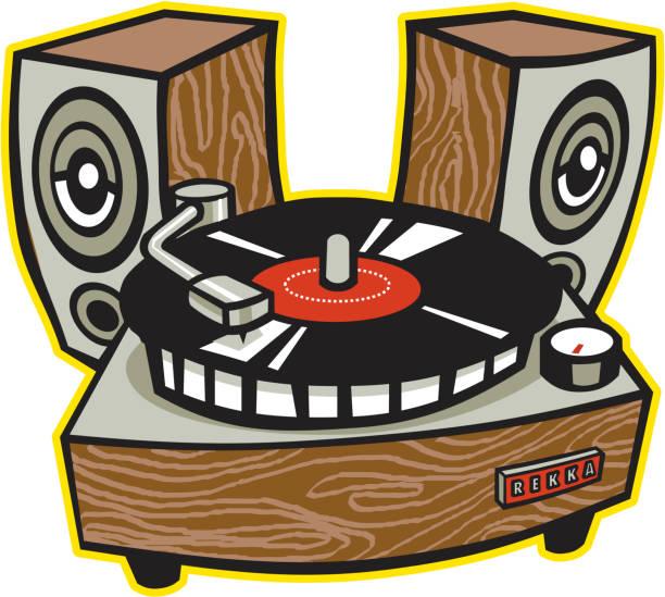 altavoces para tocadiscos ilustración