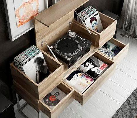 mueble para tocadiscos y vinilos