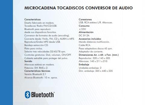 tocadiscos nevir nvr-808vbucs características